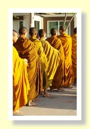 Thailand Buddhist monks collecting alms in the morning