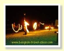 The Koh Samet fireshow is held nightly outside the Ploy Talay restaurant