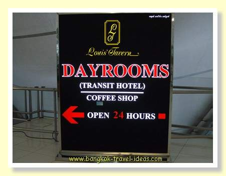 Louis' Tavern Bangkok Airport transit hotel can be booked directly from Agoda for blocks of 6 or 8 hours.<<CLICK HERE>>