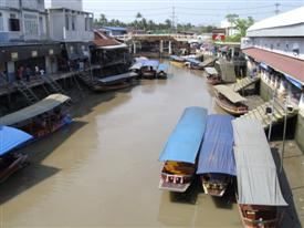 Amphawa floating market view from the bridge