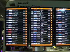 Baggage carousel board in the Arrivals hall at Bangkok Airport