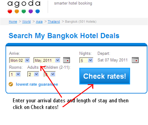 Choose your Agoda Bangkok accommodation option. Select your preferred dates, length of stay and number of people