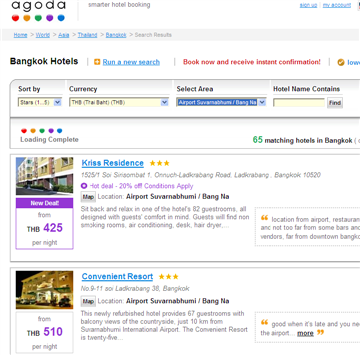 This page will just show Agoda hotels near to the airport, starting at the cheapest and gradually becoming more expensive as you scroll down the page.