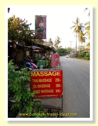 Massage prices on Koh Chang in the village of Bailan
