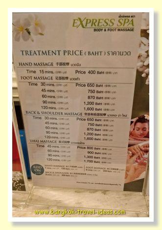 Express Spa Thai massage prices