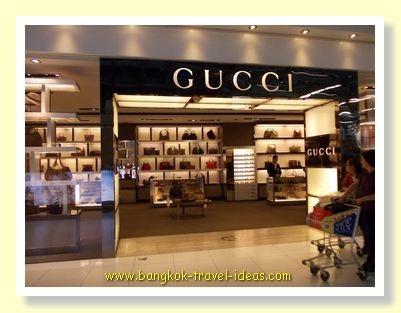 Last chance at shopping at Gucci in the departure hall of Bangkok Airport