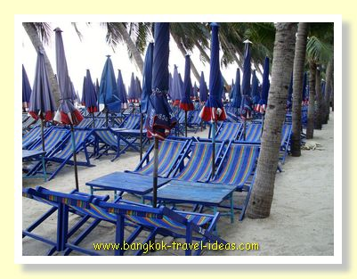 Bangkok beach chairs on Bang Saen beach