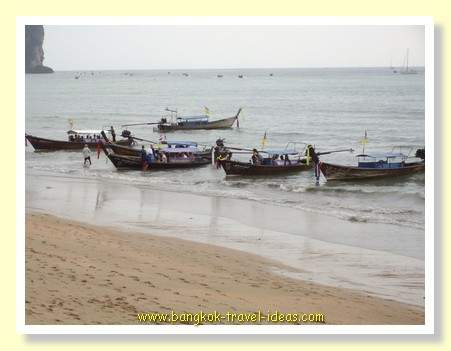 The main beach at Ao Nang where all the boats run the tours from