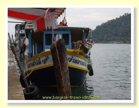 Fishing boat near the lighthouse pier on Koh Chang