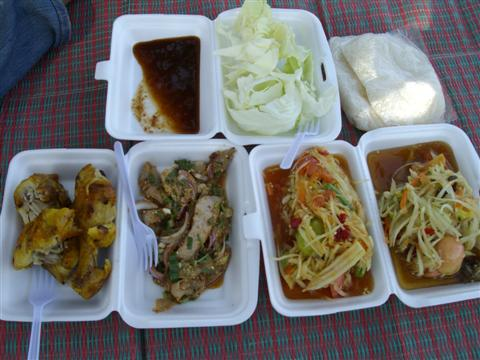 Bangkok food bought from a street stall, consisting of somtam, fried chicken and sticky rice.