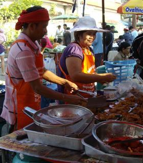 Fried Chicken in a Bangkok market
