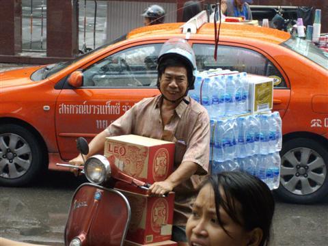 Bangkok Vespa scooter for carrying beer and bar supplies