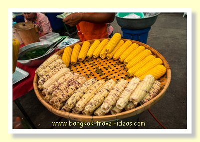 Steamed corn from a local Bangkok market