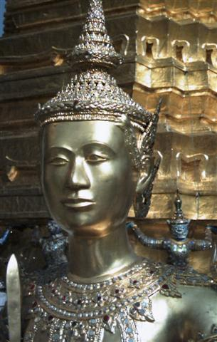 Bangkok Buddhist temples are adorned with amazing statues covered in gold