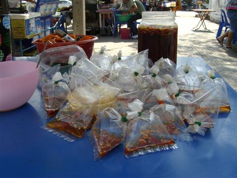 Bangkok streetfood in small plastic bags