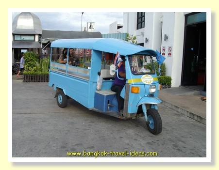 Tuk tuk at Bang Pu seaside resort ferrying the guests up to the restaurant from the car park area.