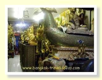 Thai artifacts in this Chatuchak market stall