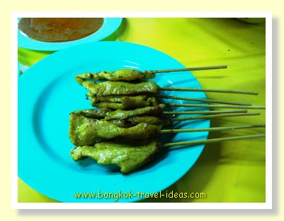 Chicken Satay for dipping in the peanut sauce