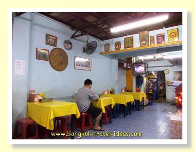Thai shop house noodle shop tables and chairs