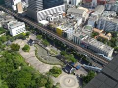 Looking down onto the BTS train line