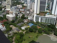 view over Benjasiri park from the Emporium Suites by Chatrium