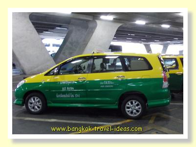 Larger Bangkok taxis frequent the airport departure terminal