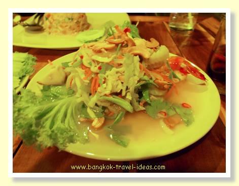Spicey Thai salad at Ton Tan restaurant Mai Khao beach