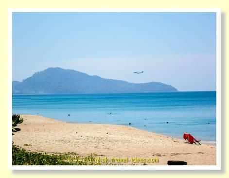 Phuket airport from Mai Khao beach