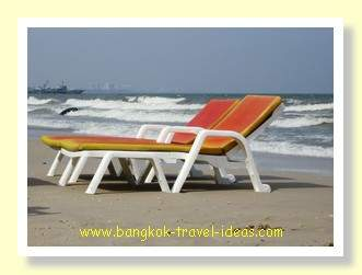 Bangkok beach chairs laid out on Hua Hin beach