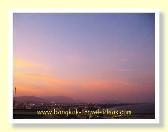 Sunset over Hua Hin town, Thailand
