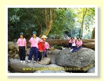 Thai schoolgirls at the Haew Suwat waterfall
