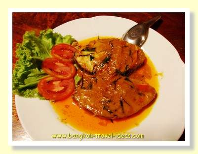 Thai seafood steaks in a red curry sauce