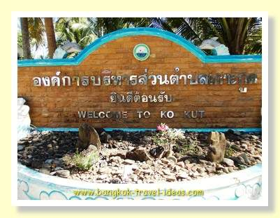Welcome to Koh Kood sign at the ferry pier