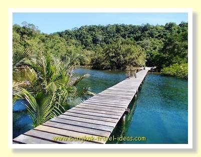 Timber walkway  near the Captain Hook Resort