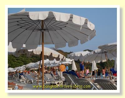 Bangkok beach umbrellas on Sai Kaew Beach Koh Samet