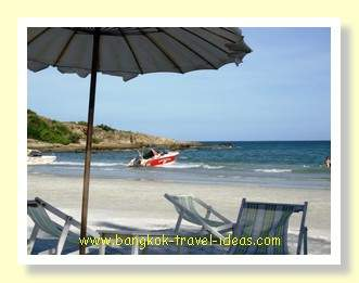 Had Sai Kaew beach looking East with a Bangkok beach umbrella