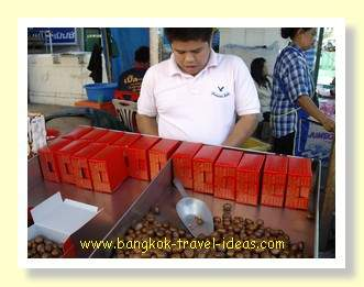 Boxes of Thai chestnuts for sale