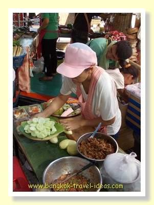 Thai food on sale at the floating market