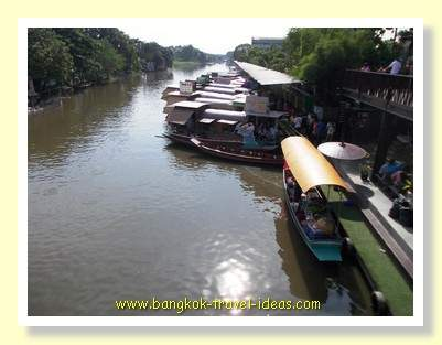 Eat on board these boats at the Kwan Riam floating Market in Bangkok