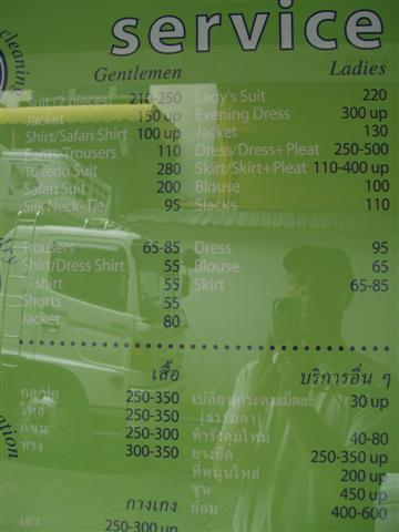 laundry price in Sukhumvit
