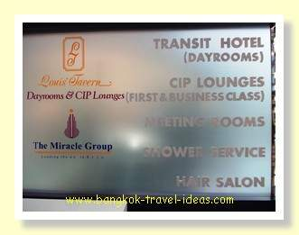 Transit Hotel sign and services
