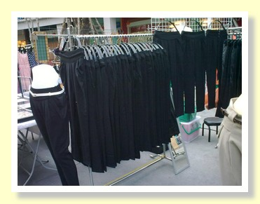 Racks of fashion trousers at Paseo Mall Bangkok