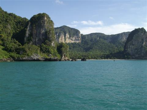 Railey beach is the first stop off when going to Phi Phi island