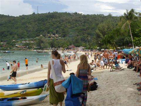 Main tourist beach on Koh Phi Phi, kayaking and paragliding activities can be taken from here.
