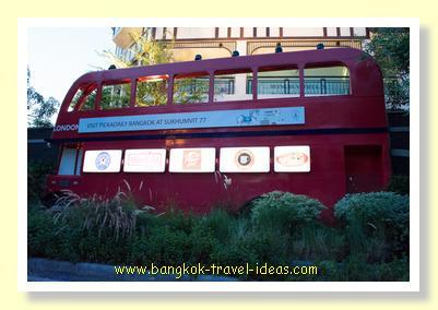 Model of London bus outside Pickadaily Bangkok