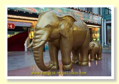 Chang elephants guarding the Asiatique nightmarket