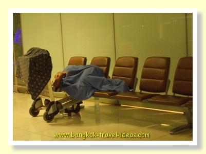 Sleeping overnight at Bangkok Airport on Level Three