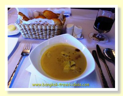 Soup, bread and wine