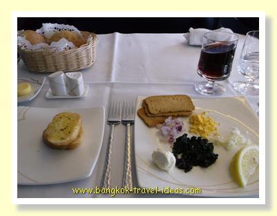 Caviar on the Thai Airways Sydney to Bangkok flight
