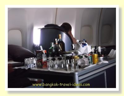 Selection of wines and spirits in the First Class cabin of Thai Airways